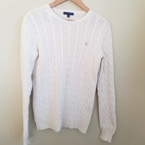 Ralph Lauren White Cable Knit Cotton Sweater